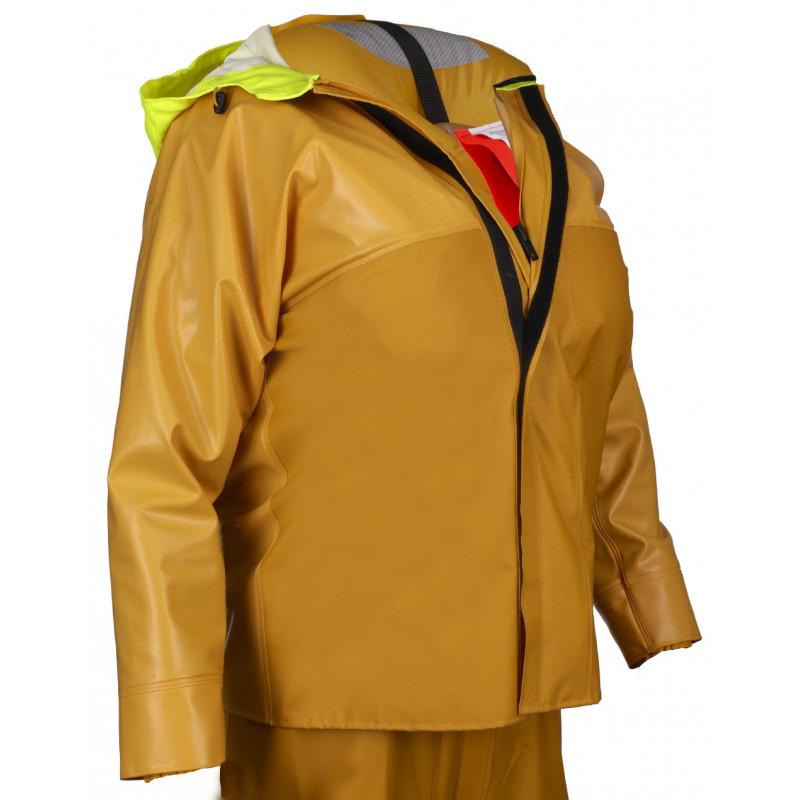 Variable volume 3D oilskin jacket - life jacket inflated - Guy cotten