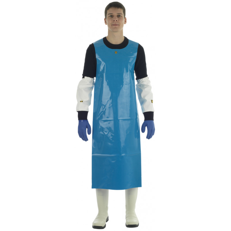 Waterproof PU oilskin work Confort apron for the food industry - Blue