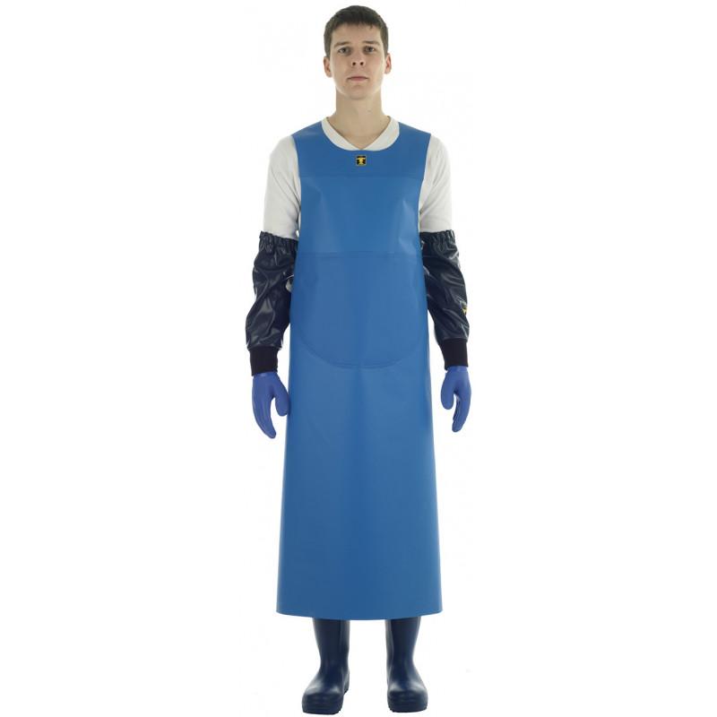 Tablier Isoconf bleu porté