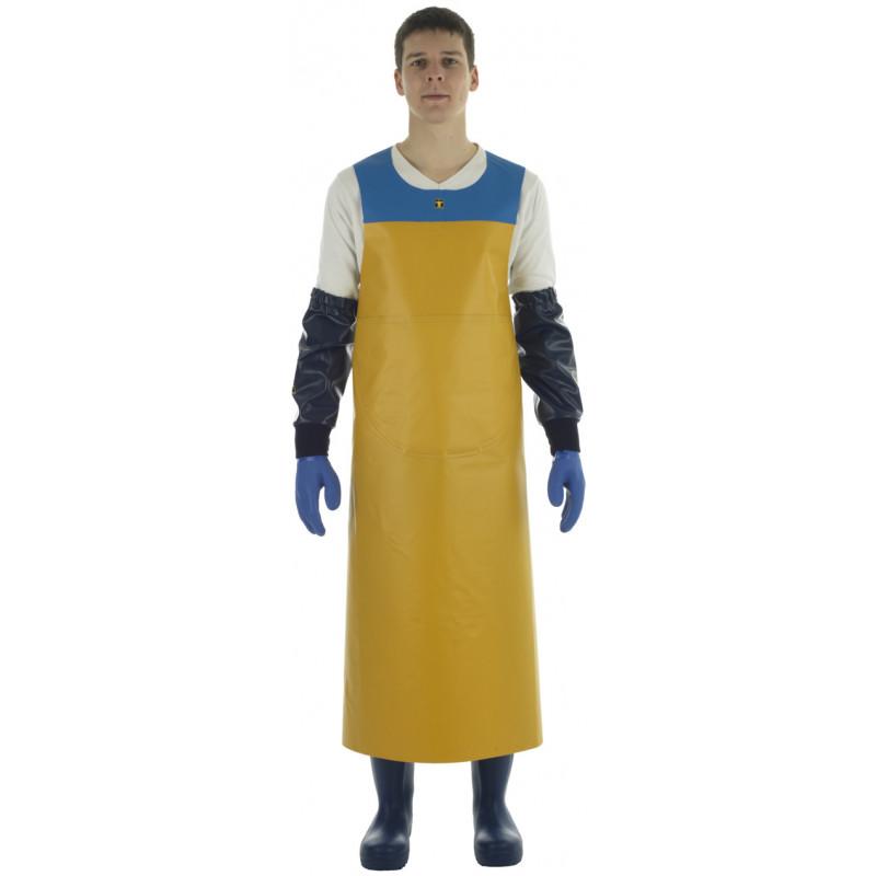 Tablier Isoconf jaune bleu porté