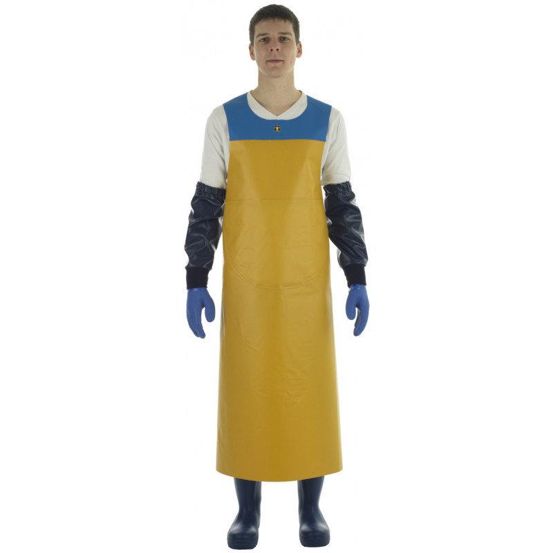 yellow and Blue Isofonf Apron - Isolatech - weared