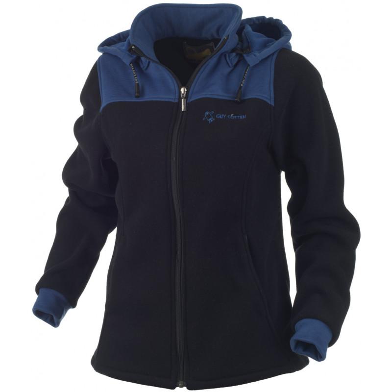 Veste à capuche femme polaire MIRA noir/cobalt