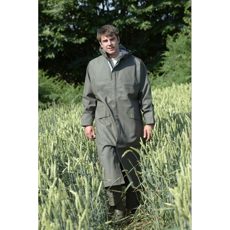 Manteau étanche isolatech Isofarmer capuche Magic porté