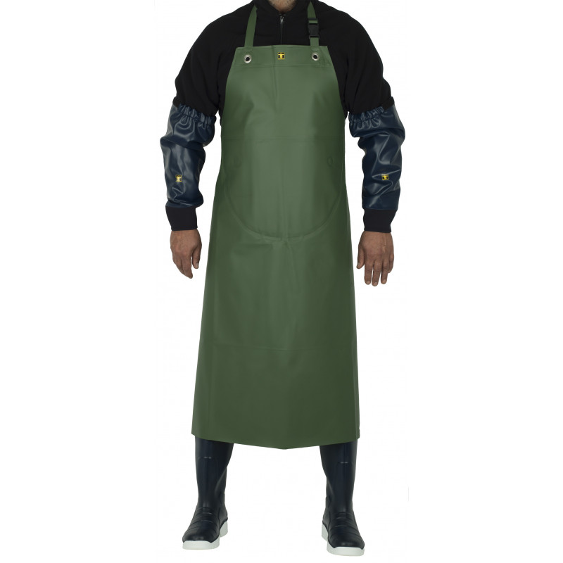 Work apron made of waterproof oilskin, insulated with Isolatech Isofranc - Face