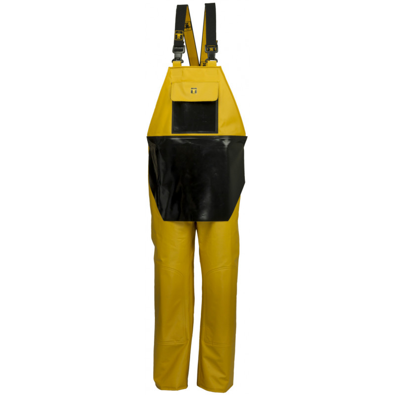 Waterproof bib and braces with apron - yellow and Black