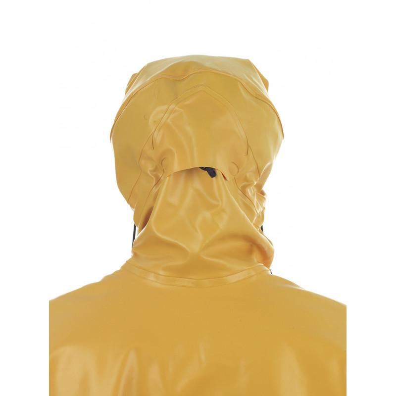 Waterproof oilskin jacket Rosbras yellow- Magic hood - Back