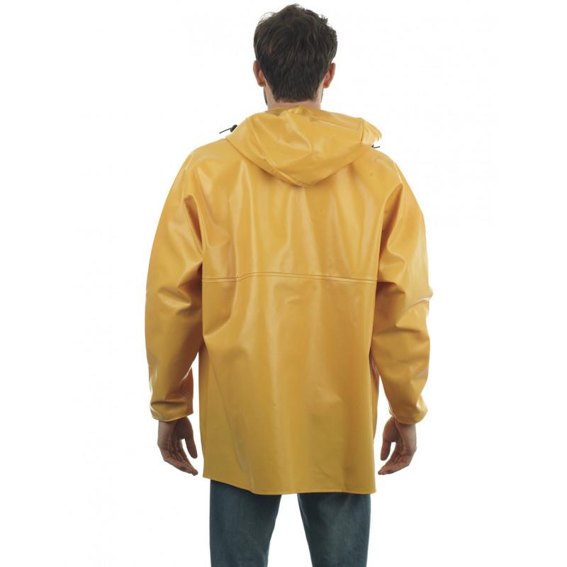 Waterproof oilskin jacket Rosbras yellow- Man back